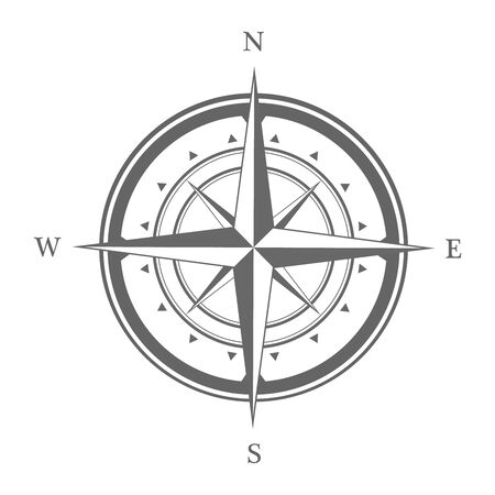 Compass icon isolated on a white background. Travel symbol. Vector illustration