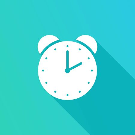 Alarm clock icon with long shadow, on blue background. Vector Illustration. Alarm clock in flat design.