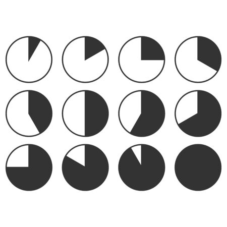 Set of Timer vector icons on transparent background. Countdown Timer vector icons.