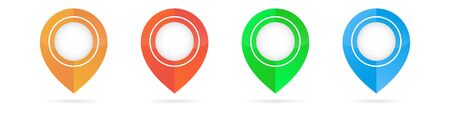 Set of bright map pointers. Location icons isolated on white background. Gps. Ilustracja