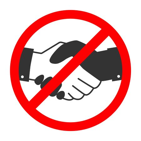 Handshake forbidden vector sign. No collaboration sign on white background. No dealing icon isolated.