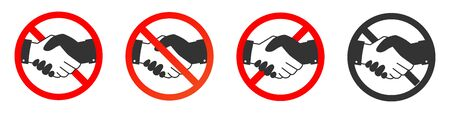 Handshake forbidden vector sign. No collaboration sign on white background. No dealing icon isolated  イラスト・ベクター素材