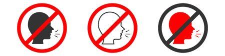 Signal indicating prohibition of speaking zone on white background. Set icon vector illustration/