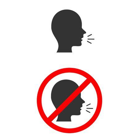 Signal indicating prohibition of speaking zone on white background.