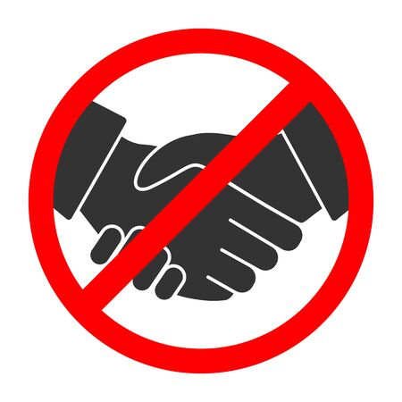 Handshake forbidden vector sign. No collaboration sign on white background. No dealing icon isolated Illustration