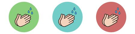 Set hand wash icon isolated on white background.Vector illustration