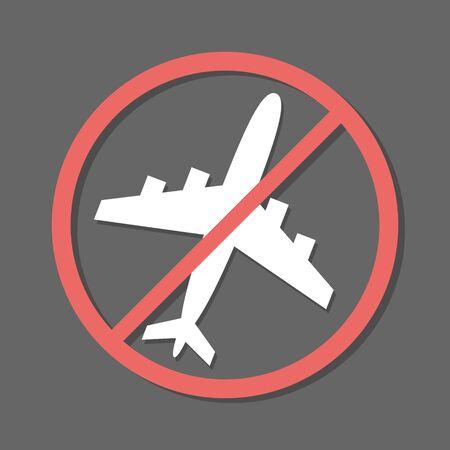 no flying on grey background,prohibit sign vector. Ilustração