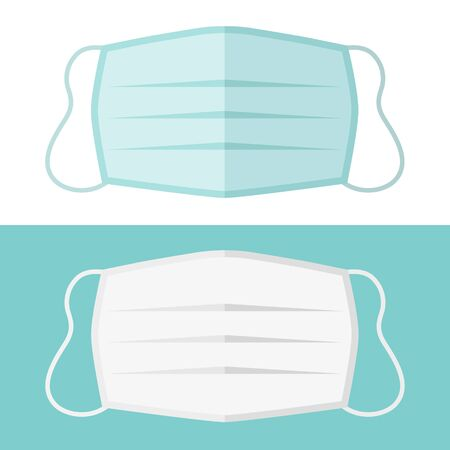 two color medical masks in isolated vector illustration