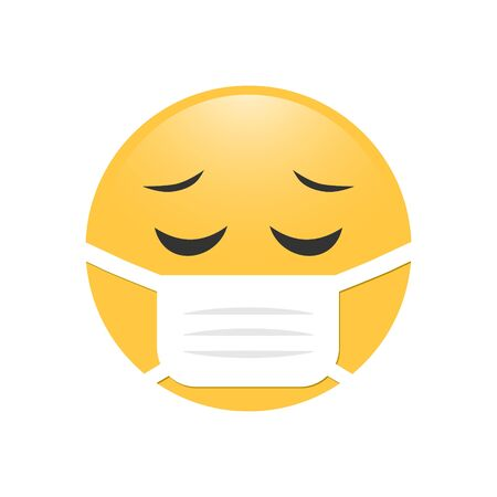 Emoji in medical mask. Emoticon in surgical mask. Stop Coronavirus. Covid-19. Stop the global pandemic.