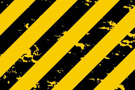 Illustration of yellow and black stripes. Symbol of hazardous and radioactive substances. Traditional background with grunge effect. Vector illustration.