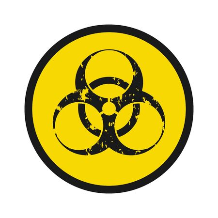 Biohazard symbol icon, in grunge style. Isolated biohazard symbol illustration. Icon, web design icon.