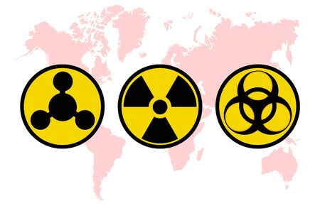 Warning signs, symbols. Danger, poison, biohazard, electricity, high voltage, chemical, waste, radioactive, explosion, bomb, flame, virus, toxic, warning, warning vector icon set.