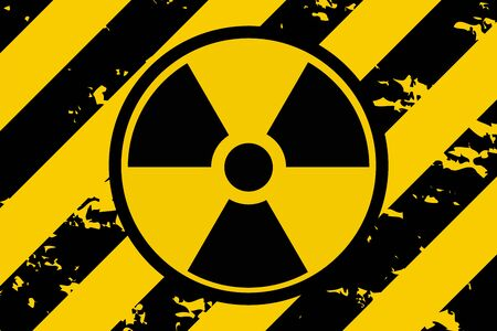 Vector illustration of a grunge biohazard warning sign. Infected specimen, yellow and black hazard symbol with scuffs, scratches and rusty textures