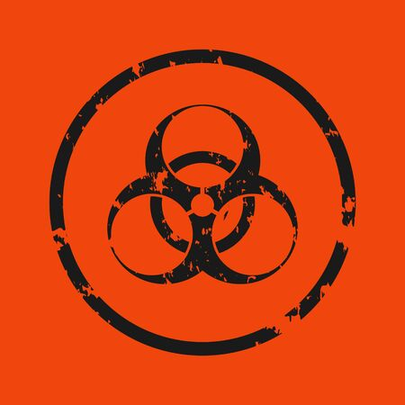 Vector illustration of a grunge biohazard warning sign. An infected sample, red and black hazard symbol with shabby, shabby and rusty textures