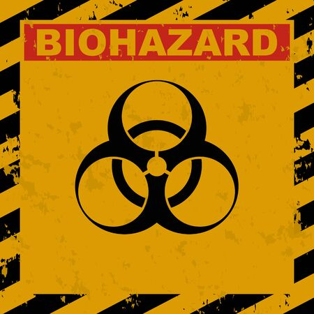 Vector grunge illustration of Biohazard warning label sign. Infected Specimen, yellow, black and red danger symbol with worn, scratchy and rusty textures