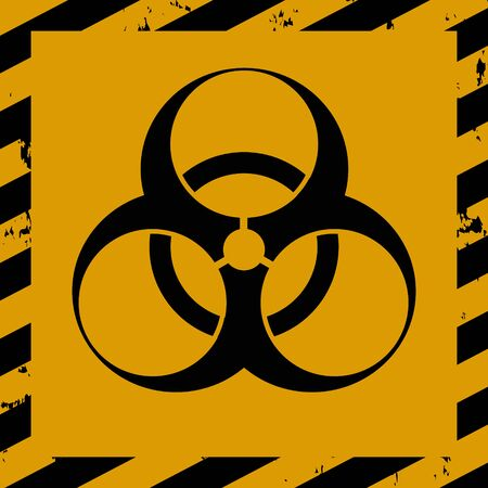 Bacteriological hazard sign and No Entry COVID-19. Concept of Bacteriological hazard coronavirus. Black Stripped Rectangle on yellow background.