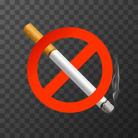 The sign no smoking. Illustration on transparent background