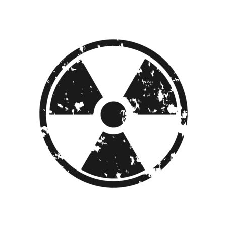 Grunge radiation hazard symbol. Vector distressed texture. Vector black illustration isolated on white.