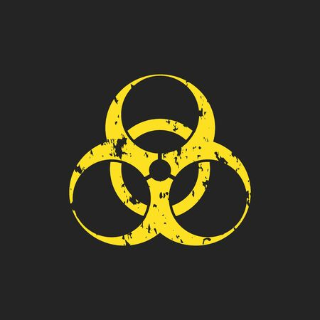 Vector illustration of a grunge biohazard warning sign. An infected sample, yellow and black hazard symbol with shabby, shabby and rusty textures.