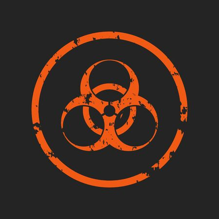 Vector illustration of a grunge biohazard warning sign. An infected sample, red and black hazard symbol with shabby, shabby and rusty textures. Ilustração