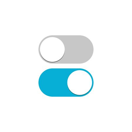Toggle switch icon, blue on, gray off, vector illustration in flat design isolated on white background.