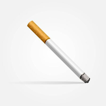 Realistic cigarette on a white background with shadow.