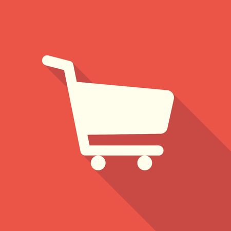 Shopping icon on a red background with a long shadow.Vector illustration Ilustração