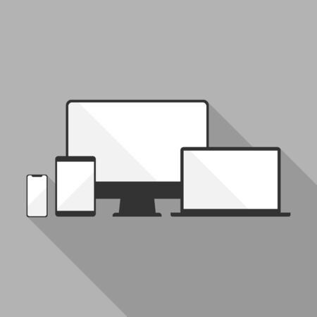 Device icons: smartphone, tablet, laptop and desktop computer. Vector flat illustration on gray background with long shadow