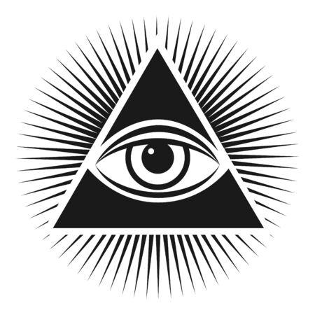 Symbole maçonnique L'œil qui voit tout à l'intérieur de l'icône du triangle pyramidal. Illustration vectorielle sur fond blanc