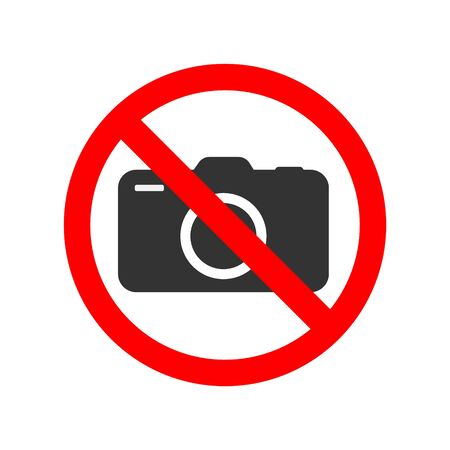 No photos prohibiting sticker symbol for places isolated on white background