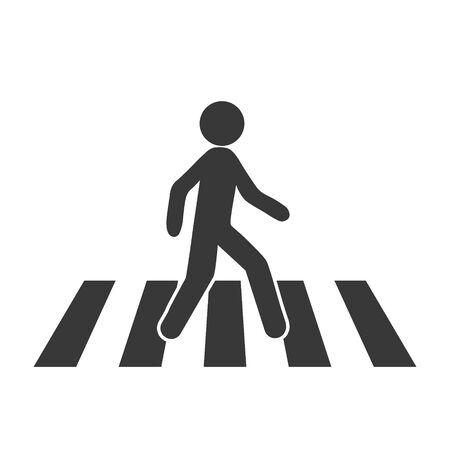 Crosswalk icon. Flat crosswalk vector icon illustration isolated on white background.