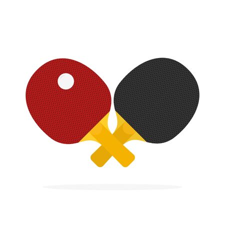 Red and black table tennis racket. Vector. isolated on a white background Ilustración de vector