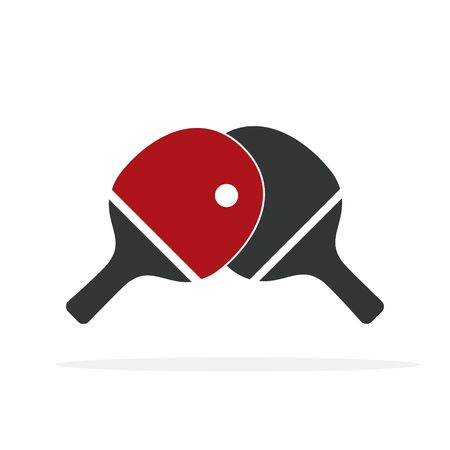 Red and black table tennis racket. Vector. isolated on a white background
