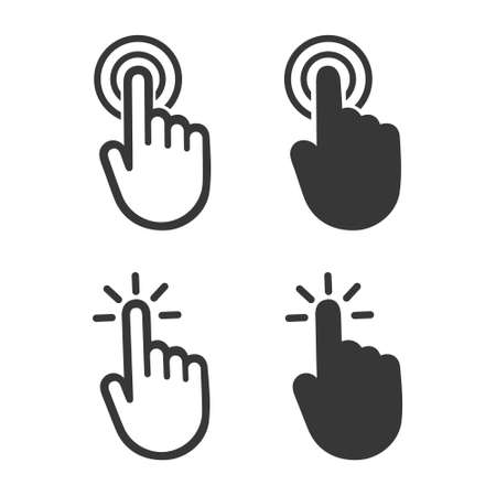 Hand cursor click symbol icon. Touch vector icons. Illustration isolated on white background Vecteurs