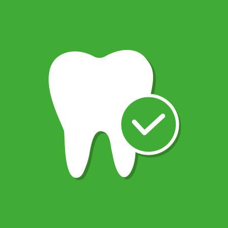 Healthy teeth on a green background. Dental health.