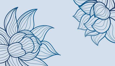 Floral line art. Floral blue background. Blue floral pattern lotus flower.