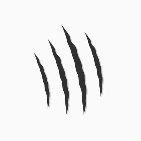 Black animal scratches. Claws scratching the cat. Vector illustration on white background.