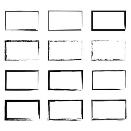 Grunge rectangular frame, blank frame. Set of hand drawn rectangle. Vector illustration on white background. Vettoriali