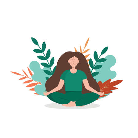 Girl sitting in a lotus position in nature. Keeps calm and even breathing. Vector illustration Ilustração