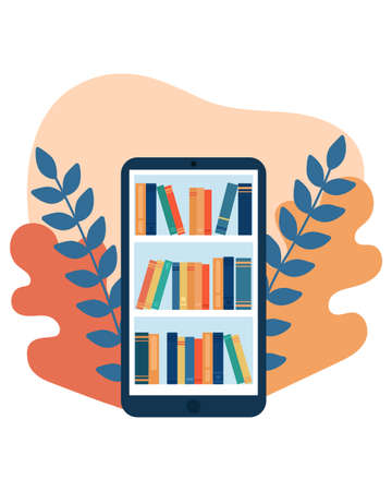 Online library. Phone with shelves for books. Online book store, library. Distance education. Vector illustration