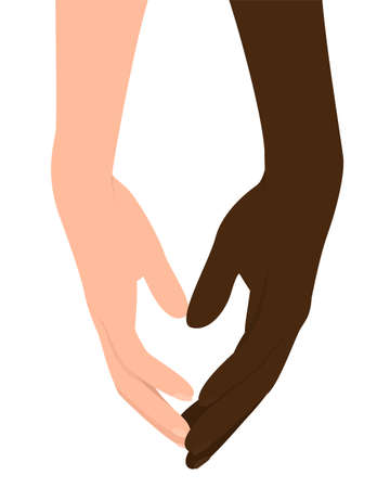Two hands, with dark skin and white skin on an isolated white background. No racism. Two hands as a symbol of brotherhood. Vector flat illustration