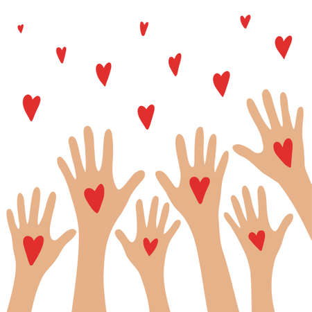 Hands up with hearts. Charity and donation concept. I share my love. Hands holding a heart symbol. Flat style vector illustration.