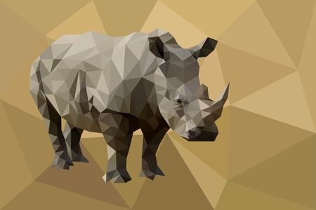 Rhinoceros low poly vector.