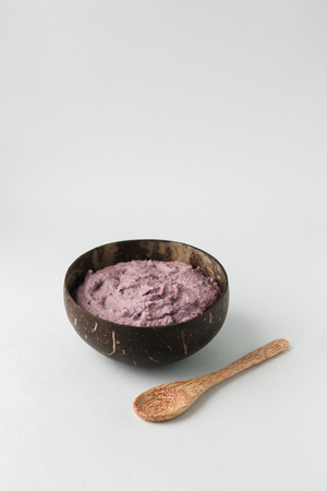 Coconut shell bowl , bowl made from coconut shell,green buckwheat Stock Photo