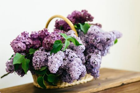 Purple lilac flowers bunch in a basket on wooden table on white background