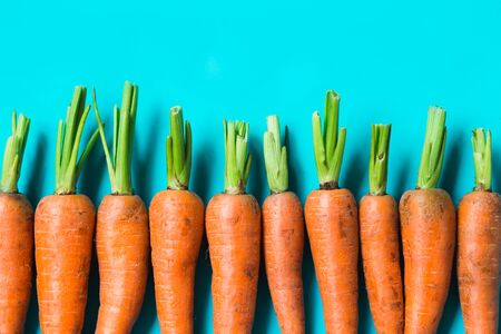 several fresh carrots lie in a row on a blue background.. Rustic style. Farming.