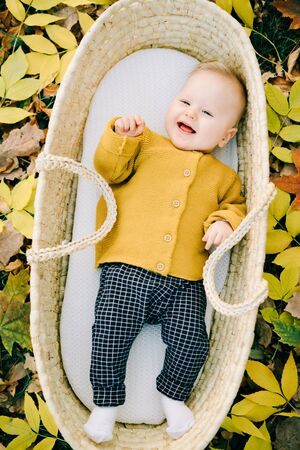 this cute boy is lying in a wicker basket in the Park in a clearing strewn with autumn leaves