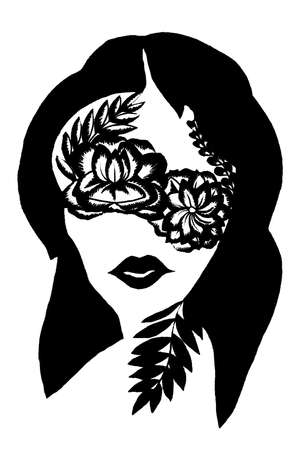 Stylized portrait of a girl with flowers on eyes in the style of tattoo on the white background