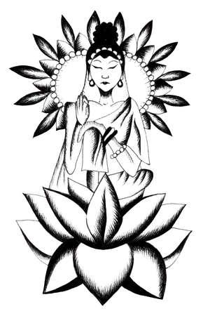 Seated buddha in tattoo style. Buddha on flower. Spiritual yoga. Yoga lotus pose