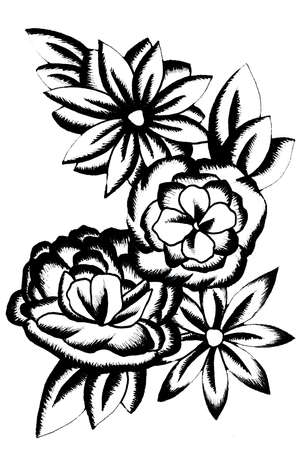 Black and white flower bouquet in tattoo style